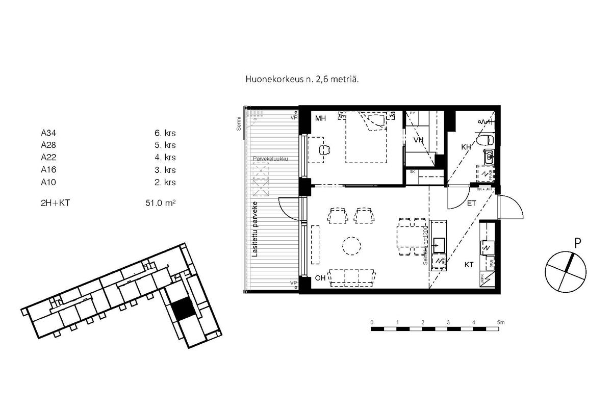 Asunto Oy Piispanportin Helmi, asunto A34 kuva 2 | myytävät asunnot Espoo