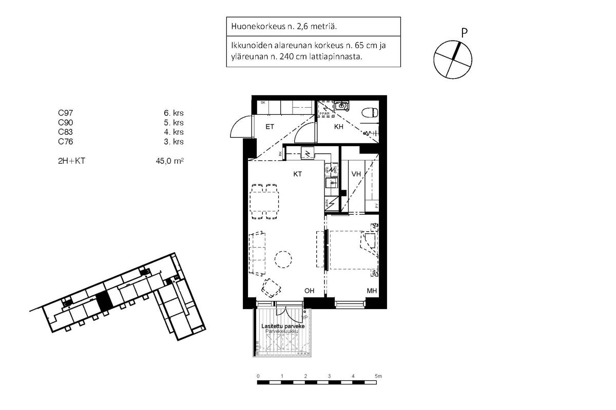 Asunto Oy Piispanportin Sointu, asunto C83 kuva 2   myytävät asunnot Espoo