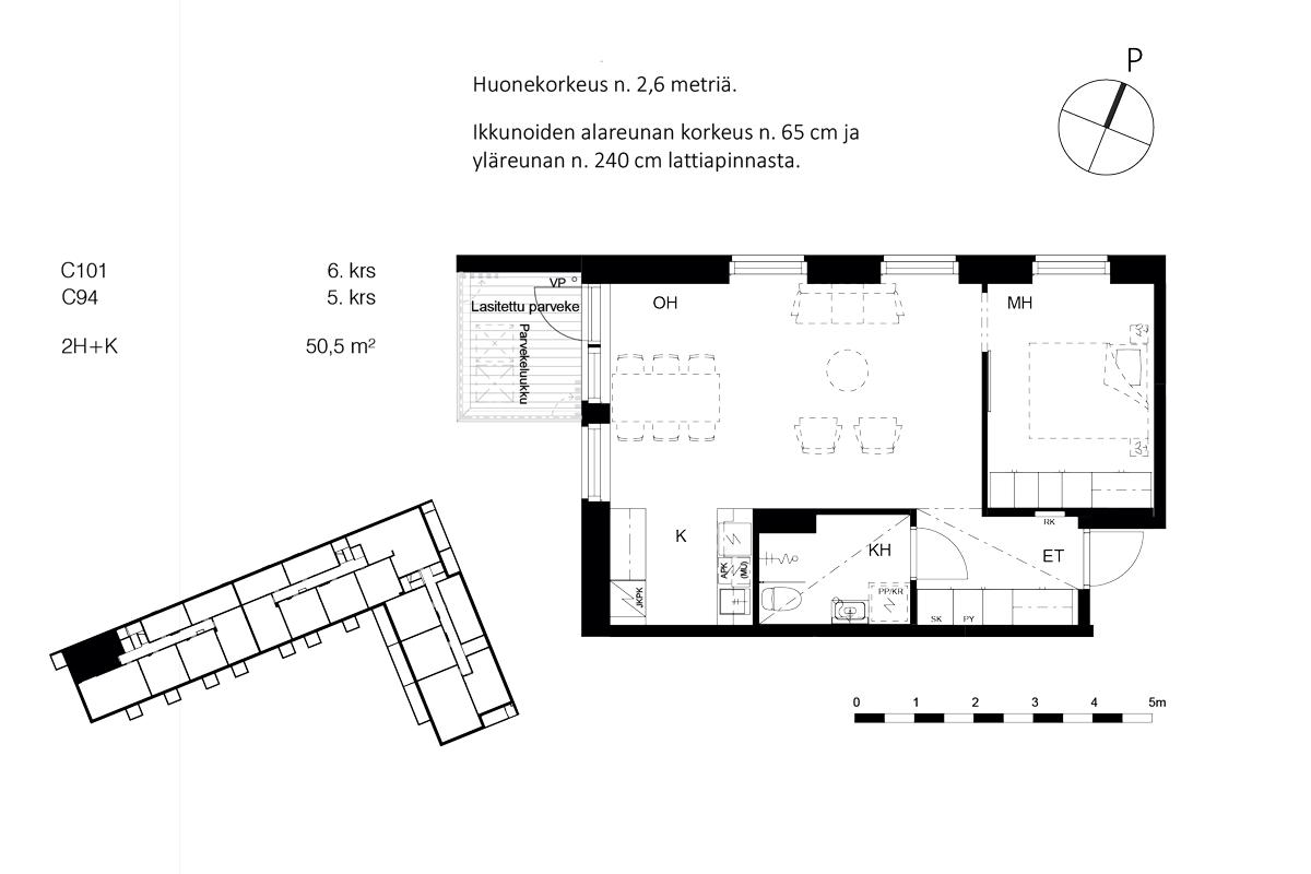 Asunto Oy Piispanportin Sointu, asunto C101 kuva 2   myytävät asunnot Espoo